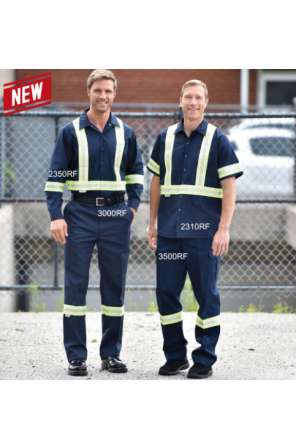 High Visibility Work Pants with front button closure