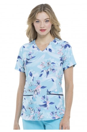 Elle Printed a La Mode V-Neck Top in Wash The Blooms Away- EL715 WABY